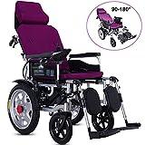 APOAD Elektrischer Rollstuhl Mit Kopfstütze,Foldable Power Electric Wheelchair Elektrorollstuhl,faltbar Tragbare,sitzbreite 45cm,rückenlehne Und Pedal Können Eingestellt Werden,Purple