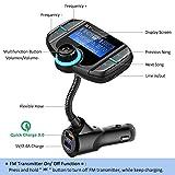 Comsoon Transmetteur FM Bluetooth Adaptateur Radio Sans Fil Kit Main Libre Voiture Chargeur avec Smart Dual Port USB QC3.0 + 2.4A, Écran LCD de 1.80 Pouces, 3.5mm Port Audio, Fente pour Carte TF