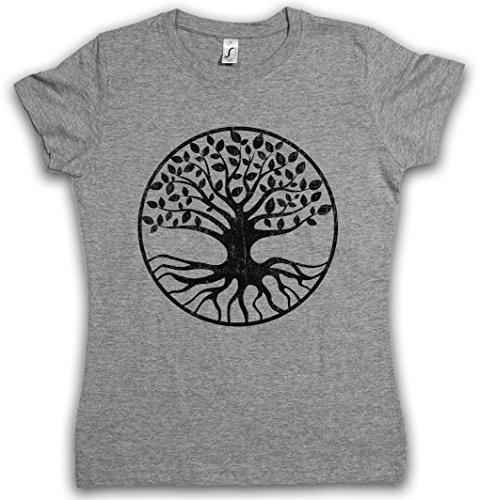 Yggdrasil V Mujer Girlie Women T-Shirt - Yggdrasill árbol de la Vida Mitología Nórdica Arsen Celtic Irminsul Tree Loki of Life of Thor Odin Odhin Life Tamaños S – 5XL