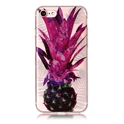 Coque iPhone 7, iPhone 7 Coque Silicone Transparent, SainCat Ultra Slim Transparent TPU Silicone Case Cover pour iPhone 7, Coque Bling Gliter Strass Brillante Anti-Scratch Crystal Clear Soft Gel Cover Ananas Feuille Pourpre