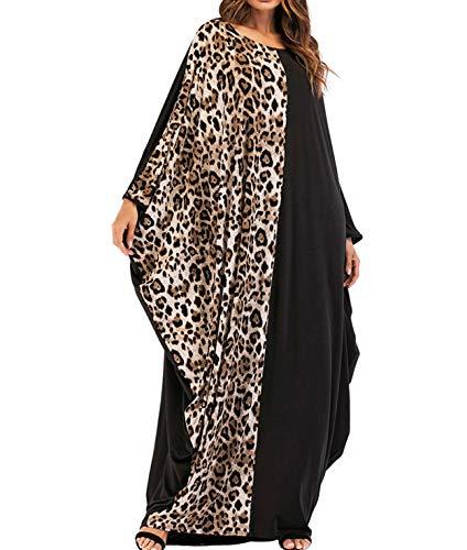 Qianliniuinc Islamische Kleidung Frauen Maxikleid Abaya-Muslimische Kleider Damen Lange Ärmel Übergröße Beiläufig Partei Kleid One Size
