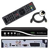 Amstrad HDTV Sat Receiver (USB, HDMI, Audio Cinch, Scart, DVB-S2) + GRATIS HDMI Kabel