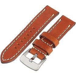 Tech Swiss LEA1553-22 22 mm Leather Calfskin Light Brown Watch Band
