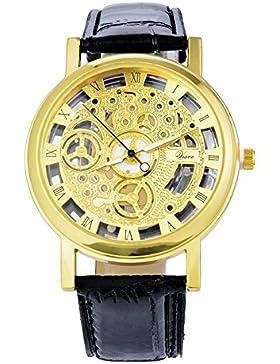 Souarts Herren Vergoldet Farbe Schwarz Armbanduhr Quartz Analog mit Batterie