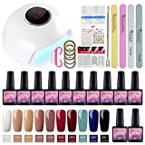 Saint-Acior Kit Uñas de Esmalte Semipermanente Gel 10 Colores 8ml 24W UV/LED Lámpara Secador Uñas...