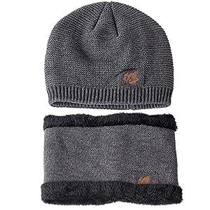 Kaiki Sturmmaske Wintermütze Mütze Loop-Schal Anzug Für Männer Frauen Winter Hat Doppelte Schichten Strick Unisex Gehäkelt Strickmütze