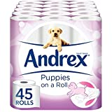 Andrex Gentle Clean, Puppies on a Roll Toilet Tissue Paper - 45 Rolls by Andrex