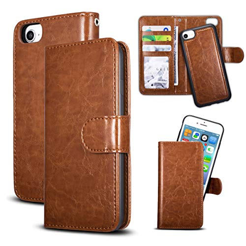 QLTYPRI Hülle für Huawei P30, Premium PU Leder Handyhülle mit Kartenfach Geldtasche Magnetisch Abnehmbar Rückschale Schutzhülle Kompatibel mit Huawei P30 - Braun -