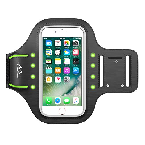 MoKo Armband für iPhone 7 / iPhone 6s / 6 - Sweatproof Leuchtend LED Joggen Laufen Sport Armband Handy Hülle Schutzhülle + Schlüsselhalter für Apple iPhone 7, Smartphone bis zu 4.7 Zoll, Grün