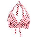 Laorchid Rockabilly 1950s Damen Bikinioberteile Bademode Bügellos Push up Kariert Rot & Weiß XXXL