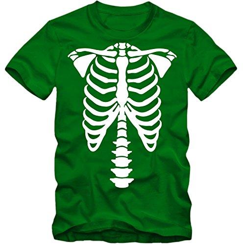 Kinder unisex T-Shirt Halloween Skelett Bones Party Shirt Tee S-3XL NEU, Farbe:grün;Größe:9-11 Jahre - Skelett Party Halloween