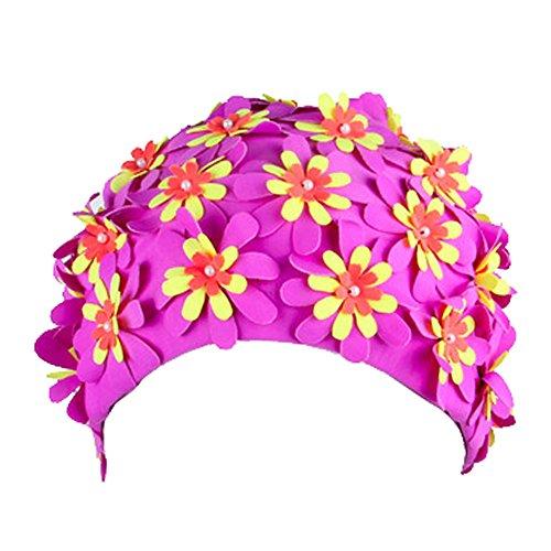 Eizur Schmetterling/Blumen Badekappe Schwimmkappe Badehaube Schwimmhaube Bademütze Vintage Schwimmen Mütze Schwimmhüte Swimming Cap für Damen
