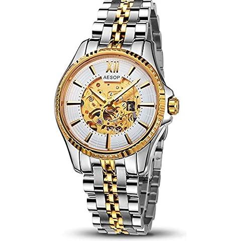 downj nuovo business Men Watch, ORO scheletro automatico orologi da polso impermeabile commercio, regalo di compleanno