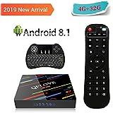 [Android 8.1 4GB+32GB] QPLOVE Smart TV Box 4K Ultra HD RK3328 Quad-Core CPU 2.4G/5GHz Dual WIFI 100M LAN H.265 Bluetooth 4.0 3D Set Top Box mit LED Display con Mini Wireless Retroilluminata Tastiera