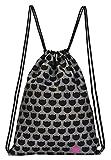 moses. Ed, The Cat Rucksack Cats All Over | Faltbarer Backpack umweltfreundlich Turnbeutel Bolsa de Cuerdas para el Gimnasio, 42 cm, Negro (Schwarz Grau)