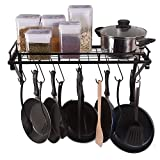 #10: Kitchen Wall Pot Pan Rack,With 10 Hooks,Black— Decorative Wall Mounted Storage Rack — Multi-Purpose Shelf Organizer Great for Kitchen Cookware, Utensils, Pans, Books, Household Items, Bathroom