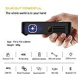 #6: AODIN Android 7.1 2200 Lumens 4K Smart Mini DLP LED Home Cinema Projector TouchPad Dual Wifi Bluetooth HDMI Miracast 2GB RAM 16 GB ROM 8000mAH Battery