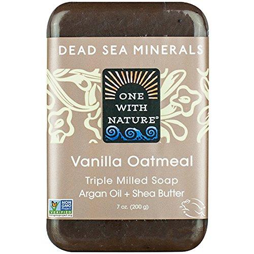 One With Nature Pain de savon à l'avoine - Exfoliant doux - Parfum de vanille - Avec sels minéraux de la Mer morte et beurre de karité - 200 g