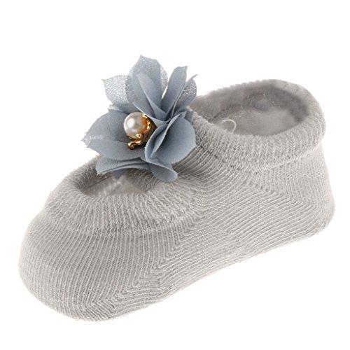 36 Monate Säugling Baby Mädchen Prinzessin Kleinkind Fuß Socken mit Rüschen Blümchen Spitze Bowknot - Grau, Stil 2 (Paare Nette Kostüme)