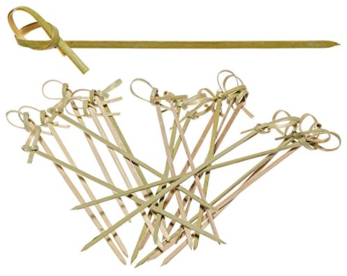 (prexware Knoten Spieße, Twisted Enden Cocktail Picks 100Ct., Bambus, Natur, 15,2cm)