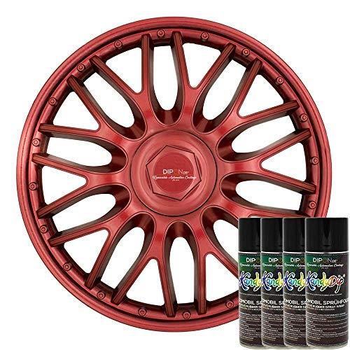 KandyDip® Sprühfolie True Candy RED Flüssiggummi Felgenfolie Spraydosen Sets+2K, (2X Effekt, Satin)