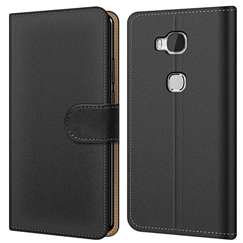Conie BW3067 Basic Wallet Kompatibel mit Honor 5X, Booklet PU Leder Hülle Tasche mit Kartenfächer & Aufstellfunktion für Honor 5X Case Schwarz