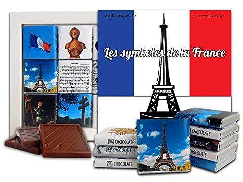 DA CHOCOLATE Candy Souvenir SYMBOLS OF FRANCE Chocolate Gift Set 13x13cm 1 box (Eiffel Tower)