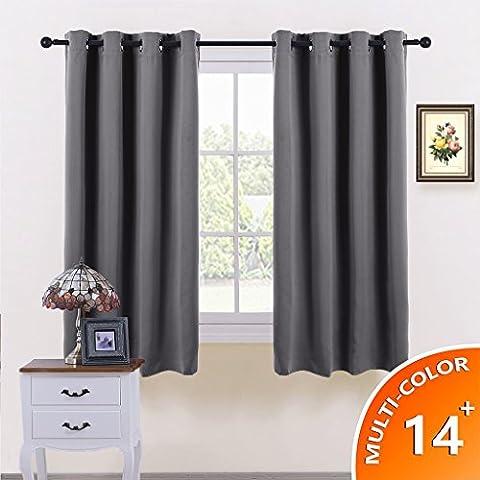 Blickdicht vorhänge Vorhang Gardine - PONY DANCE 137 cm x 116 cm (H x B), Grau, 1 Paar, Verdunkelungsvorhänge mit Ösen Energiespar & Wärmeisolierend