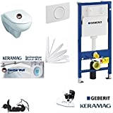 Geberit Duofix Keramag Renova Nr. 1EU-Modell WC réservoir Kit complet + Couvercle Fermeture en douceur, sans marge Kera Tect Revêtement Plaque Blanc rectangulaire