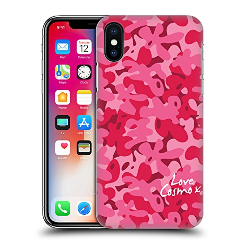 Official Cosmopolitan Pastel Camo Hard Back Case for Apple iPhone X Rosy Pink