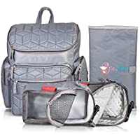 Cute Nico Changing Backpack – Large Capacity with Waterproof Baby Nappy Mat – Lightweight, 2 extra mini bags (Thermal & Mesh Bags) – Ideal Diaper / Maternity Travel Backpack – Fashion Grey Unisex Rucksack