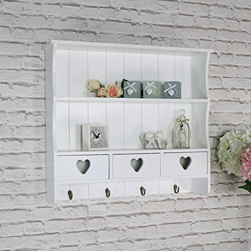 Melody Maison Large White Wall Shelf with Heart Drawer Storage 4d3ae72fca86