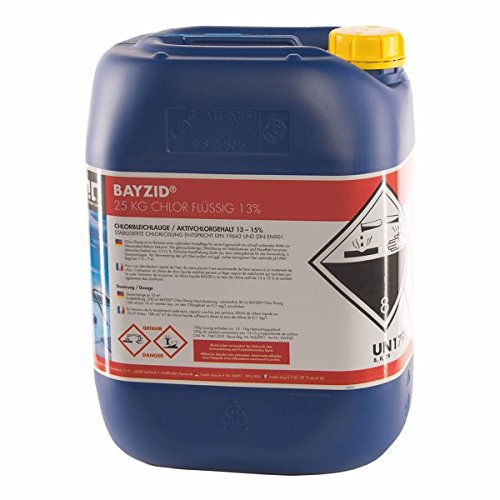 1 x 25 kg Chlor flüssig - mit 13 bis 15 % Aktivchlorgehalt - Wasserdesinfektion für Pools - VERSANDKOSTENFREI