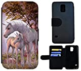 SchutzHülle Galaxy S5 Mini G800 Hülle S5 Mini Handyhülle Flip Cover Case Samsung Galaxy S5 Mini (1535 Einhorn Fantasy Pferd Fohlen)