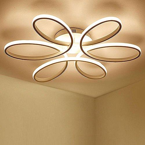 LED 75W Blume-Shape Deckenleuchte Creative Acryl Aluminium Lampenschirm Modern Elegante Matt Weiß Deckenlampe Wohnzimmer Esszimmer Schlafzimmer Deckenleuchte Dimmbar 3000K-6000K L58cm * H11cm