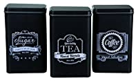 Out of the Blue Finest Selection Thé café sucre Boîte rectangulaire, Noir, Lot de 3