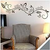 Exklusivpro Wandtattoo Blumen Ranke Miu mit Schmetterlinge für Wohnzimmer Schlafzimmer Flur oder Diele (jap29g grau) 90 x 24 cm mit Farb- u. Größenauswahl