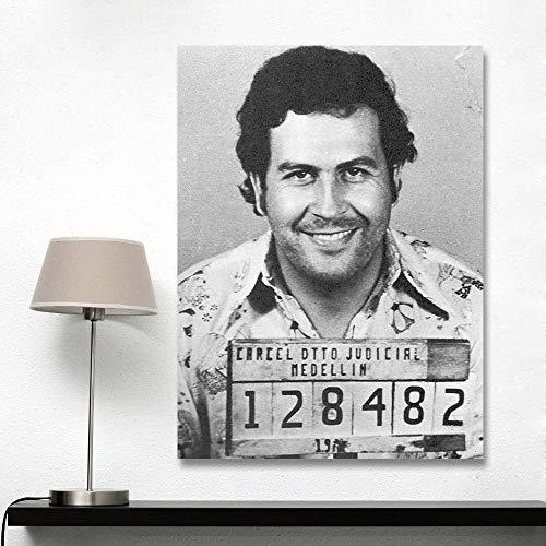 mmzki Leinwand Kunst Wandbilder Für Wohnzimmer Klassische Dekorative Pablo Escobar MugPainting Wohnkultur Printed60X100CM