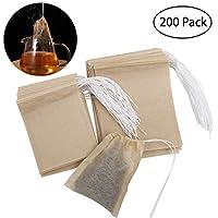 OUNONA 200tlg. Teebeutel feine Teefilter Einweg Teabag für lose Blatt Tee ( 70mm X 90mm und 55mm X 70mm)