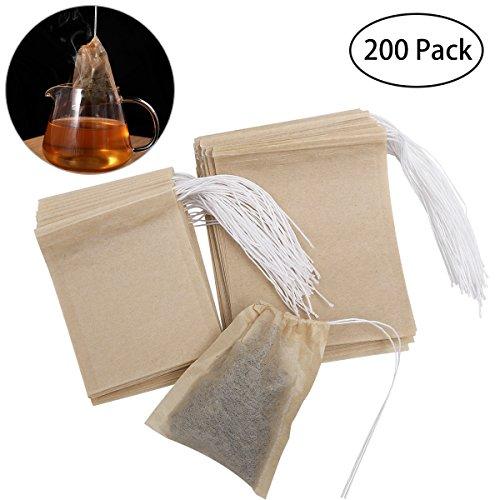 OUNONA 200tlg. Teebeutel feine Teefilter Einweg Teabag für lose Blatt Tee ( 70mm X 90mm und 55mm X 70mm) - Papier-tee-filter