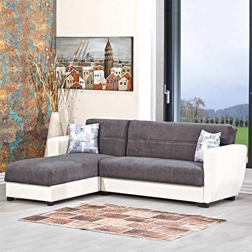 Enrico coveri contemporary divano letto 3 posti con penisola in ecopelle e tessuto con contenitore salvaspazio + 2 cuscini mod. cornery (bianco/grigio)