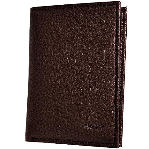 Charmoni - Portefeuille Porte Carte Billet Homme Femme En Cuir De Vachette Neuf 1824a - chocolat