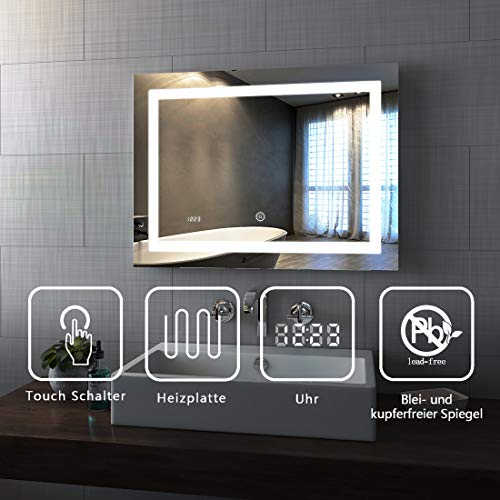 Spiegel Wandspiegel mit LED Beleuchtung 80 x 60 x 4,5 cm Badspiegel Lichtspiegel mit Touchschalter, beschlagfrei und Digital Uhr - Kaltweiß