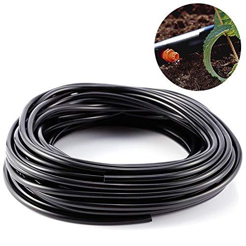 Delaman Tubería de Irrigación Micro Drip Supply Tubo de Manguera de 3 Mm para Sistema de Riego de Jardín, 20m, Negro