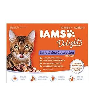 IAMS Terre/Mer Land/Sea Collection Nourriture Humide en Gelée pour Chat Adulte Toutes les Races 12 Sachets x 85 g