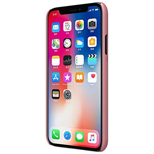 Meimeiwu Super-Frosted Tasche Qualitativ hochwertiges Back Cover Schutzhülle mit Displayschutz für iPhone X - Braun Rose Gold