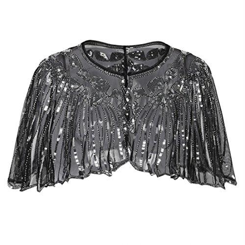 PrettyGuide Damen Stola Abendkleid Perlen Pailletten Art Deco 20er Jahre Schal Schwarz Silber
