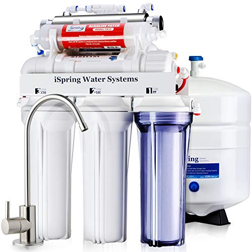 iSpring 75GPD Wasser Filtration System 7Stufen A Umkehrosmose RO Alkaline Ultraviolett UV, Typ rcc7ak-uv -