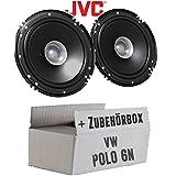 VW Polo 6N - Lautsprecher Boxen JVC CS-J610X - 16cm Auto Einbauzubehör 300Watt Koaxe KFZ PKW Paar - Einbauset