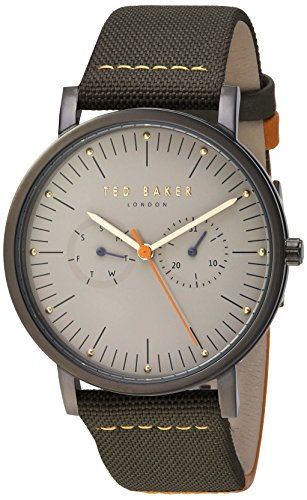 Ted Baker Men's 'BRIT' Quartz Stainless Steel and Leather Casual Watch, Color:Grey (Model: TE50274003)